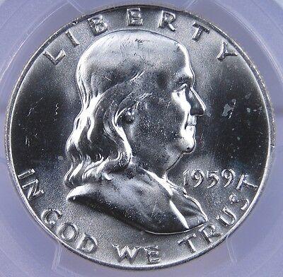 1959 D FRANKLIN HALF DOLLAR PCGS MS 65 FULL BELL LINES BLAST WHITE