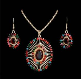 18k gold plated rhinestone crystal colorful jewelry set