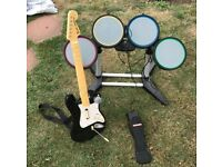 Rock Band Guitar, Microphone & Drum Set PS2 (PN:No Dongle, Game Disk or Battery Cover/Batteries)