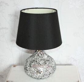 Crackle Glass lamp with black Lamp Shade from Dunelm Mill