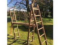 Vintage wooden ladder set