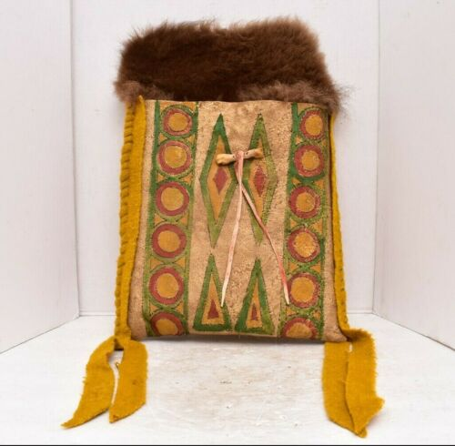Native American Lakota Sioux Antique Painted Buffalo Rawhide Parfleche Bag pouch