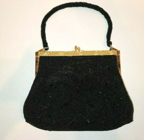 Vintage Black Beaded Clutch/Purse w/ Mirror - Imported Japan