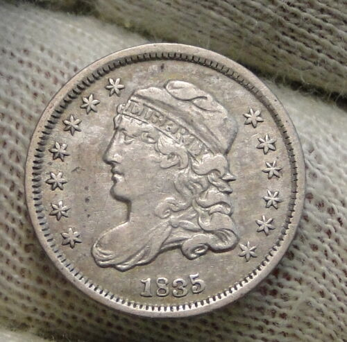 1835 Capped Bust Half Dime H10C, Nice Coin, Free Shipping (8494)