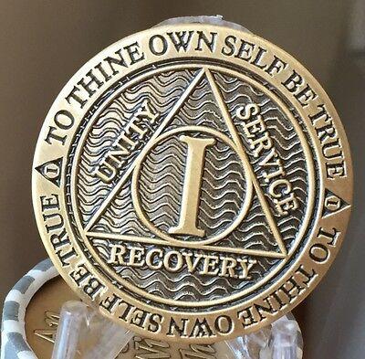 1 Year AA Medallion Reflex Antique Chocolate Bronze Sobriety Chip Coin