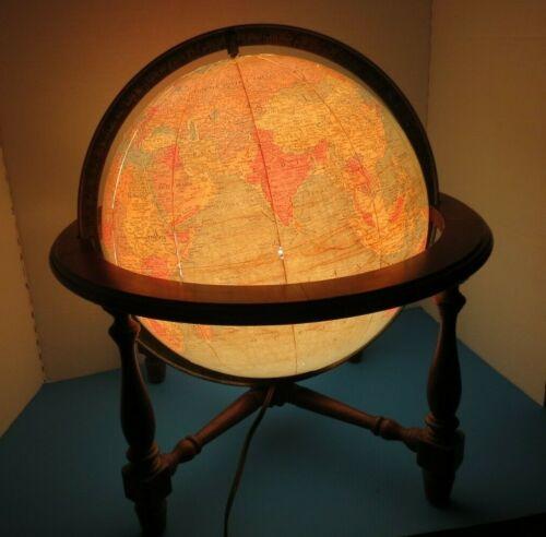 "Vintage Replogle 12"" World Globe Classic Wood Base With Interior Light Tested"