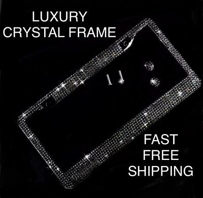 Made With BLACK SWAROVSKI CRYSTAL Metal License Plate Frame CAPS Chrome Diamond