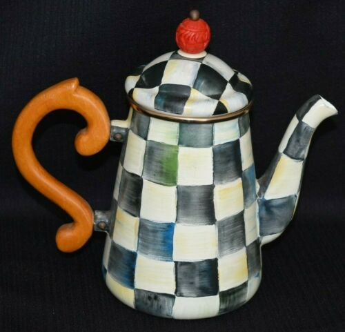 MACKENZIE CHILDS TEAPOT TEA POT COFFEE POT Courtly Check Enamel