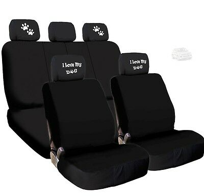 NEW 4X I LOVE MY DOG PAWS LOGO HEADREST WITH BLACK CLOTH SEAT COVERS FOR VW