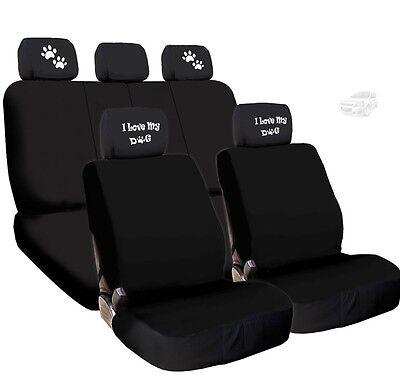 NEW 4X I LOVE MY DOG PAWS LOGO HEADREST W/ BLACK CLOTH SEAT COVERS FOR CHEVROLET