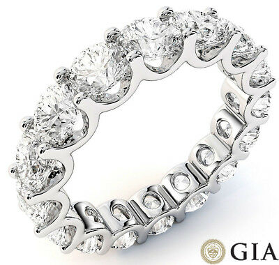 7.3 ct Round Diamond Ring Platinum Eternity U Band E-F VS GIA sz 8 0.45 ct each