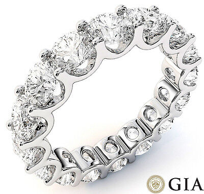 "6 ct Round Diamond Eternity Ring 14k Gold ""U"" Band 16 x 0.35 ct D-E VS GIA sz 8"
