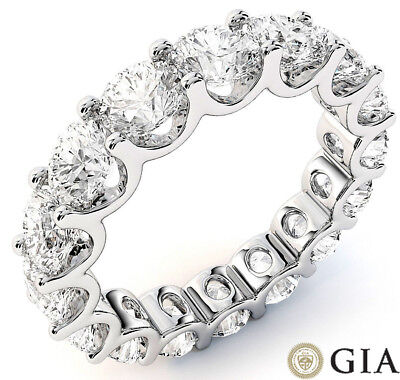 5.72 ct Round Diamond Ring 14k Gold Eternity U Band D-E VS GIA sz 7 0.35 ct each