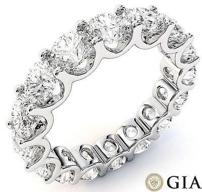4.95 ct Round Diamond Eternity Ring 14k Gold U-Band 14 x 0.35 ct D-E VS GIA sz 4