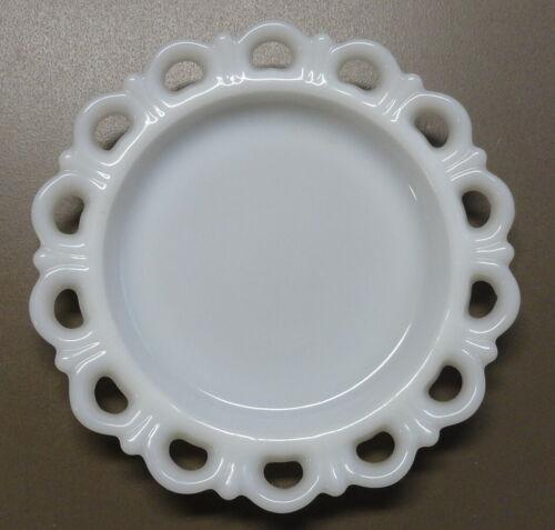 "Vintage Anchor Hocking White Milk Glass 8 1/4"" Lace Edge Dessert Plate-Multiples"