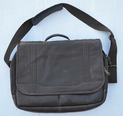 "Samsonite Vintage Dark Brown Leather Men's Croossbody Bag Size 16""x12"""