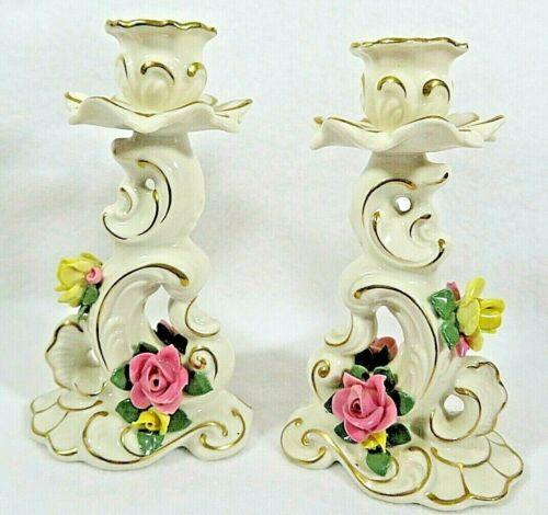 Vintage Porcelain Dresden Germany Candlesticks with Roses