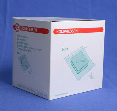 100 Mull-Kompressen Steril 8-fach 10x10 cm Nobamed (50x2 St.) PZN 07385747