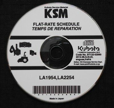 Genuine Kubota La1954 La2254 Front Loader Flat Rate Schedule Manual On Cd