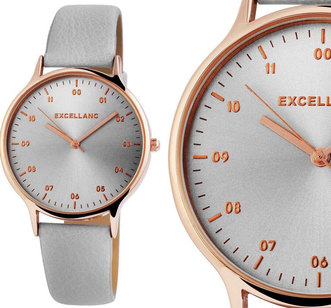 moderne Damenuhr Armbanduhr Silber Rotgold Grau Kunstleder 1900212 Excellanc