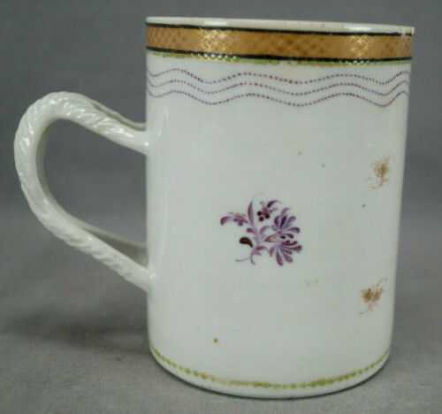 18th Century Chinese Export Hand Painted Purple Floral Mug / Tankard AS IS