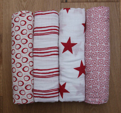 Aden Anais Baby Swaddle Blanket ~ White & Red ~ Special Edition ~ Pick 1 ~