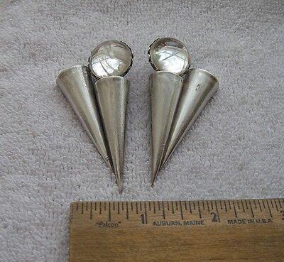 Vintage IKUO ICHIMORI Paris MODERNIST SILVER EARRINGS-Glass Sphere & Cones-NR