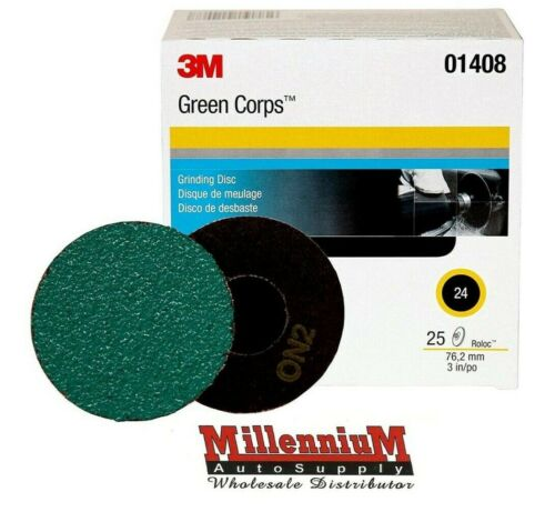 "3M Green Corps Roloc Grinding Discs, 3"" 24-Grit: 01408"
