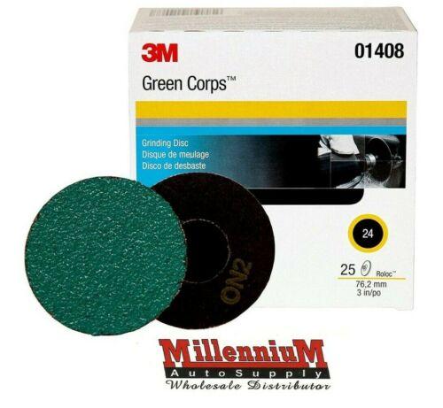 "3M Green Corps Roloc Grinding Discs, 3"" 24-Grit: 01408"