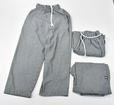 Lot Of 3 Chef Works Pants Xxs Womens Black White Checker Kitchen Wear W Pocket