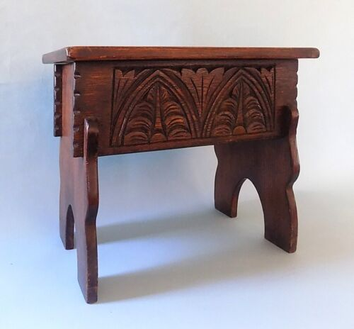 English Antique Oak Jacobean Style Box Stool. Carved Details. Free Shipping.