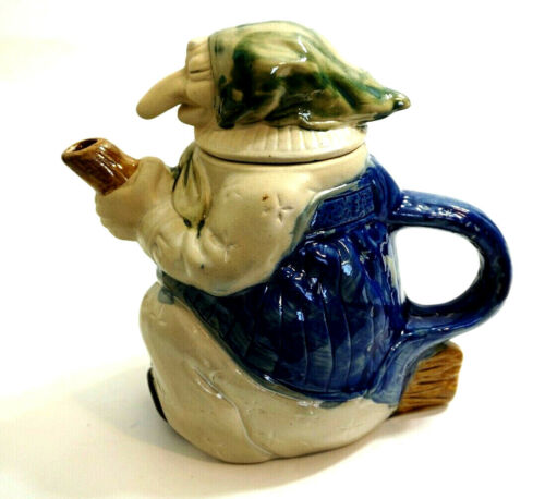Vintage WITCH on Broom TEAPOT Baby Yaga slip glaze stoneware ~ NICE CONDITION!!