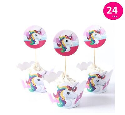 Set of 24 UNICORN Cupcake Toppers and Wrappers for birthday party supplies