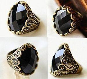 Black Vintage Crystal Ring Stone Retro Womens Goth Rhinestone New UK
