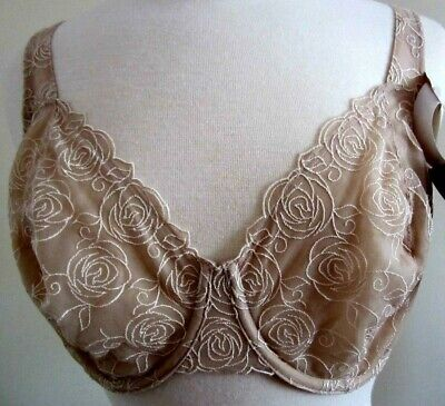 BALI Body Beige Ivy Lace Desire Minimizer Underwire Bra Size 40D