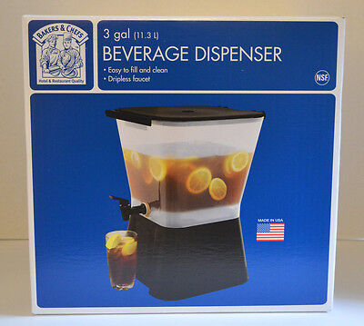 Bakers & Chefs Beverage Dispenser 3 Gal ( 11.3L ) Brand New
