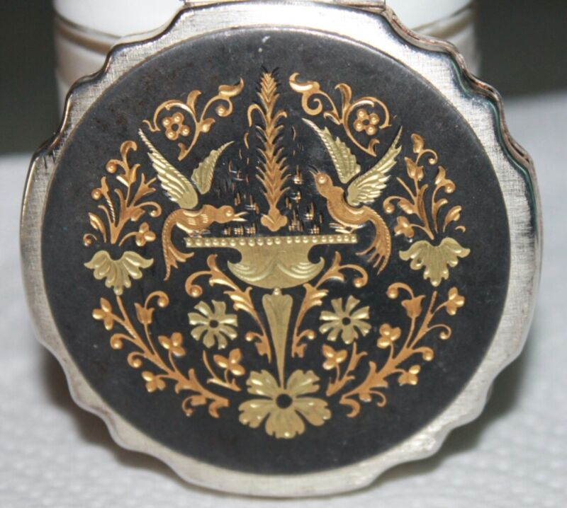 Vintage Compact Black Enamel With Elaborate Damascene Top Beautiful