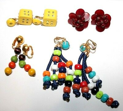 Vintage Lot of 4 Earrings - Costume Earrings Clip Dice Plastic & Wooden Beads
