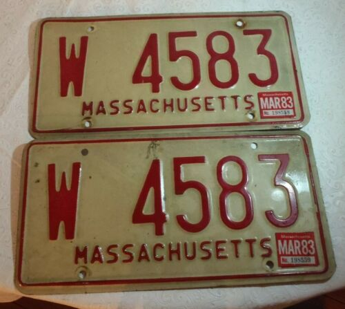 1972-80s Massachusetts  License Plate Tag W 4583 pair