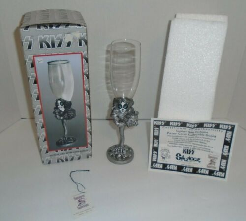 KISS PETER CRISS WINE GOBLET WITH BOX , TAG , AND COA