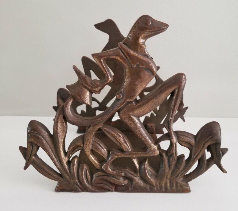 Antique Cast Metal Fish Tank Bowl Holder Bracket Frame Art Deco Frogs Figures