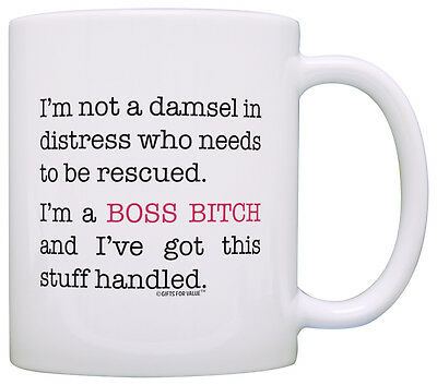 Coffee Mugs for Women Not Damsel in Distress I'm Boss Bitch