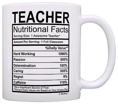 Teacher Gifts Teacher Nutritional Facts Label Coffee Mug Tea Cup](Teacher Coffee Mugs)