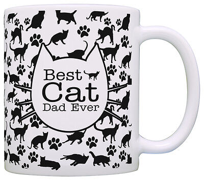 Cat Lover Gifts Best Cat Dad Ever Kitty Pattern Rescue Cat Coffee Mug Tea
