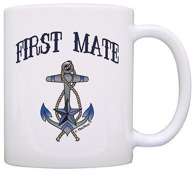 Boating Gift First Mate Nautical Anchor Sailing Themed Coffee Mug Tea Cup