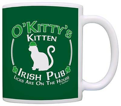 Cat Owner Gift St Patricks Day Kitten Kitty Irish Pub Sign Coffee Mug Tea Cup