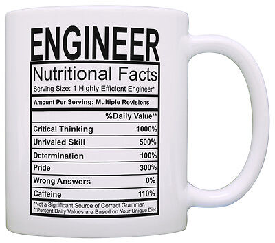 Engineering Gifts Engineer Nutritional Facts Label Science Coffee Mug Tea Cup - Science Cup
