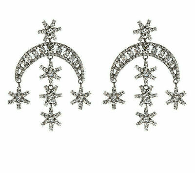 Signed JENNIFER BEHR Crescent Moon & 6 Star Statement Earrings