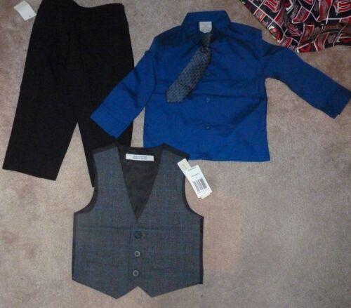 NEW Perry Ellis 4 Piece Dress Shirt Pants Tie Vest Set Boys 2T Toddler Blue/Grey