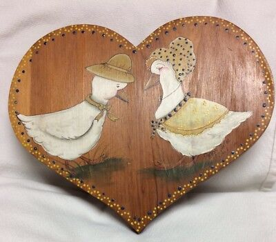Vintage Folk Art Painting Of Pair Of Geese On Wooden Heart Plaque Signed